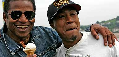 Jackie Jackson and son Siggie (aka rapper DealZ) enjoy a Hockings Ice Cream on Appledore Quay