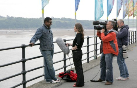 Jackie Jackson being interviewed on Appledore Quay
